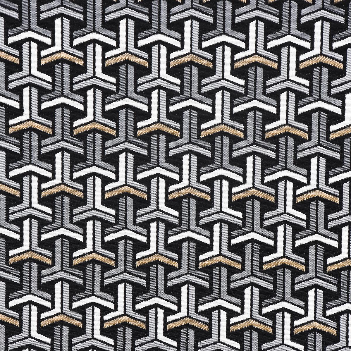 Skandinavische stoffe schwarz weiss  Dekostoff Jacquard-Stoff grafisch T schwarz weiß goldfarbig ...