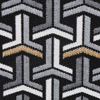 Dekostoff Jacquard-Stoff grafisch T schwarz weiß goldfarbig – Bild 2