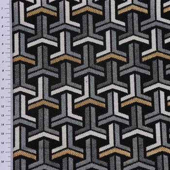 Dekostoff Jacquard-Stoff grafisch T schwarz weiß goldfarbig – Bild 3