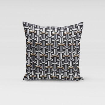 Dekostoff Jacquard-Stoff grafisch T schwarz weiß goldfarbig – Bild 6