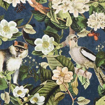 Baumwollstoff Stoff Dekostoff Digitaldruck Affe Vogel Blumen blau grün  – Bild 1