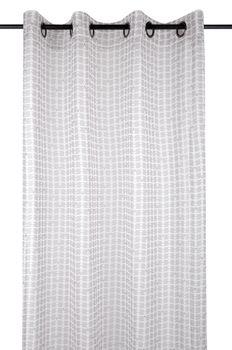 Fertiggardine Ösengardine JOIE grafisch weiß grau rosa 140x260cm – Bild 1