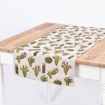 Schöner Leben Tischläufer Kaktus natur grün 40x160cm – Bild 1