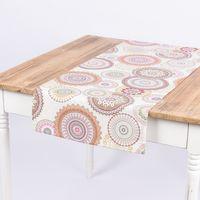 Schöner Leben Tischläufer Mandala Blumen Muster beige bunt 40x160cm