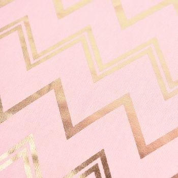 SCHÖNER LEBEN. Kissenhülle Chevron Zacken rosa goldfarbig metallic 50x50cm – Bild 2