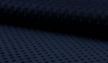 Fleece Minky dots Noppen dunkelblau Kuschel Stoff Flausch