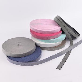 Gummi Band Glitzer schwarz silberfarbig Meterware Breite: 2,5cm – Bild 4