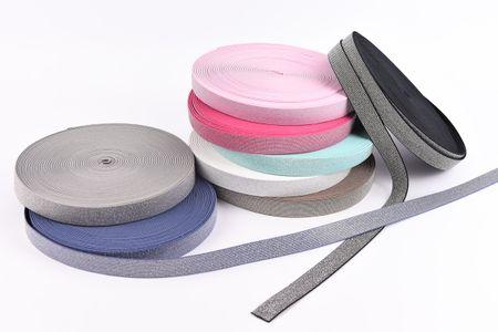 Gummi Band Glitzer jeansblau silberfarbig Meterware Breite: 2,5cm – Bild 2