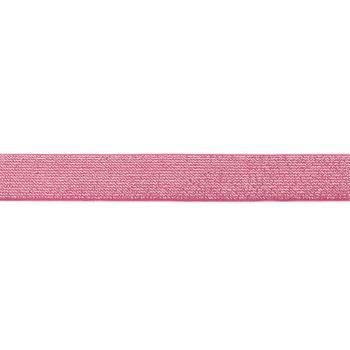 Gummi Band Glitzer pink silberfarbig Meterware Breite: 2,5cm – Bild 1