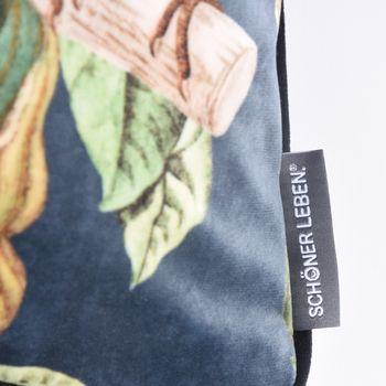 SCHÖNER LEBEN. Wendekissen mit Kederumrandung und Federfüllung Samt Affe Blumen blau grün schwarz 30x50cm – Bild 6