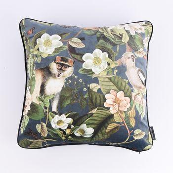 Schöner Leben Wendekissen mit Kederumrandung und Federfüllung Samt Affe Blumen blau grün schwarz 50x50cm – Bild 1