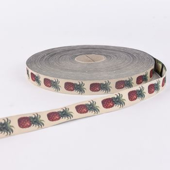 Webband Ananas beige rot grün Breite: 2cm – Bild 1