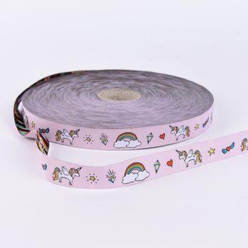 Webband Einhorn Regenbogen rosa bunt Breite: 2cm – Bild 1