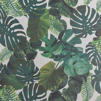 Dekostoff Gardinenstoff Leinenoptik Palmenblätter weiß grün 1,40m Breite – Bild 1