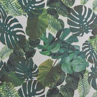 Dekostoff Gardinenstoff Leinenoptik Palmenblätter weiß grün 1,40m Breite 001