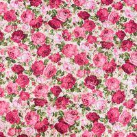 Baumwollstoff Rosen beige rosa pink grün 1,45m Breite