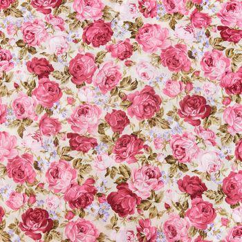 Baumwollstoff Rosen grün rot rosa 1,45m Breite – Bild 1