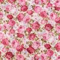 Baumwollstoff Rosen grün rot rosa 1,45m Breite
