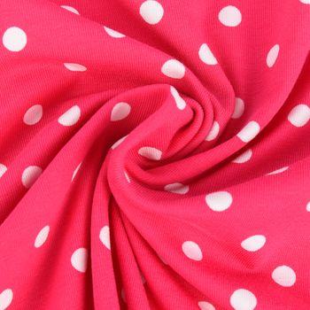 Jersey Jerseystoff Baumwolljersey Punkte pink weiß Ø8mm 1,5m Breite
