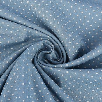 Baumwollstoff Trachtenstoff Punkte blau beige Ø1mm 1,4m Breite – Bild 1