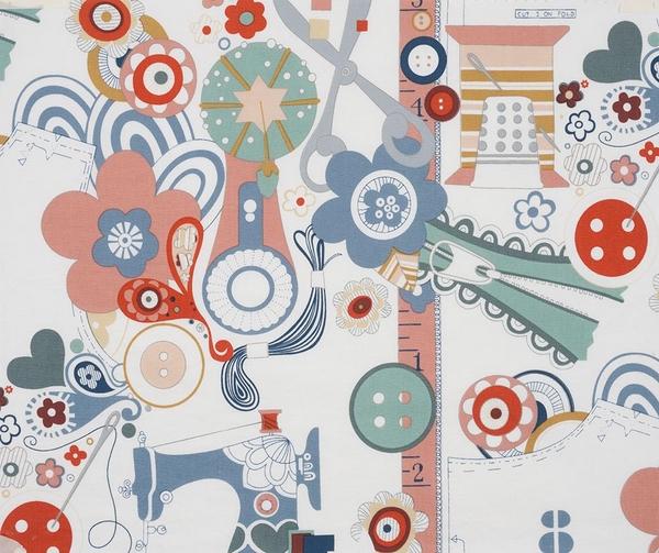 Alexander Henry Fabrics Patchworkstoff Baumwollstoff Sew now sew wow Blume Nähzubehör weiß bunt 1,1m Breite