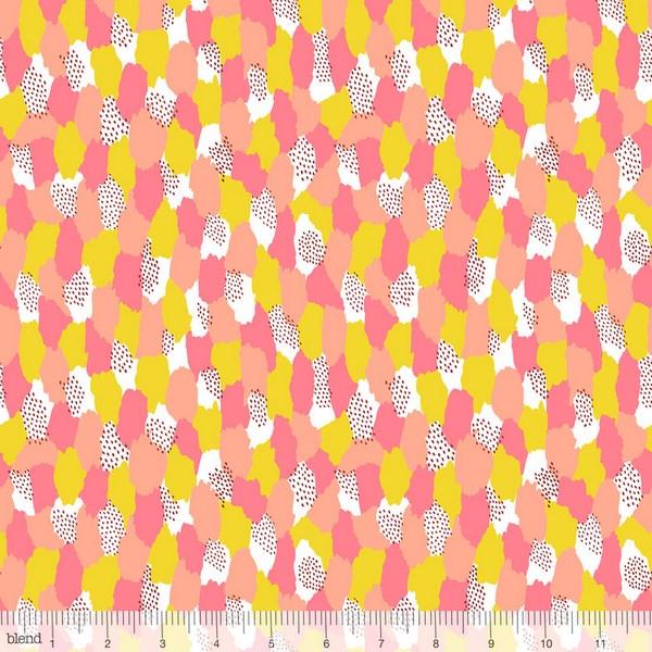 Katy Tanis Patchworkstoff Baumwollstoff by blend In the Sahara Kleckse Punkte orange gelb weiß 1,1m Breite
