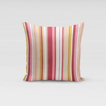 Schöner Leben Kissenhülle Streifen rot rosa beige  50x50cm