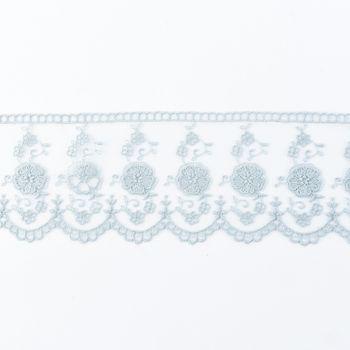 Häkelband auf Tüll blaugrau Breite: 6cm