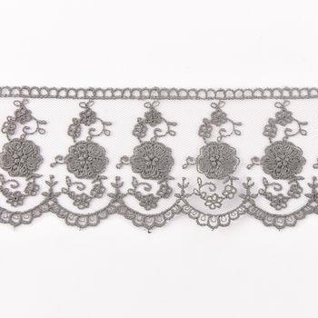 Häkelband auf Tüll dunkelgrau Breite: 6cm – Bild 1