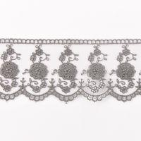 Häkelband auf Tüll dunkelgrau Breite: 6cm 001