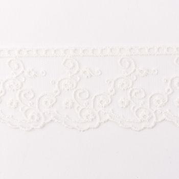 Häkelband auf Tüll Ranken creme Breite: 4,5cm – Bild 1