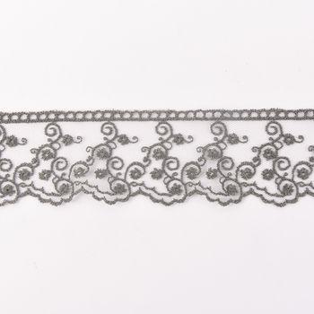Häkelband auf Tüll Ranken dunkelgrau Breite: 4,5cm – Bild 1