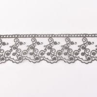 Häkelband auf Tüll Ranken dunkelgrau Breite: 4,5cm