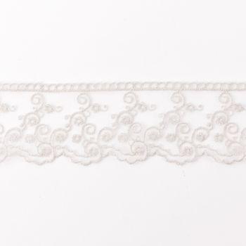 Häkelband auf Tüll Ranken hellgrau Breite: 4,5cm – Bild 1