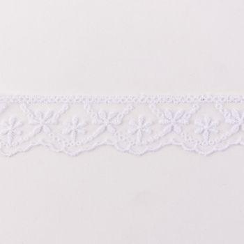 Häkelband auf Tüll Blumen weiß Breite: 2,5cm – Bild 1