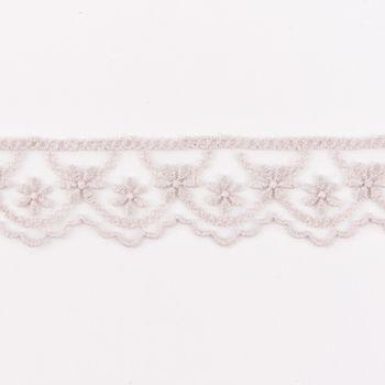 Häkelband auf Tüll Blumen taupe Breite: 2,5cm