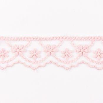 Häkelband auf Tüll Blumen rosa Breite: 2,5cm – Bild 1