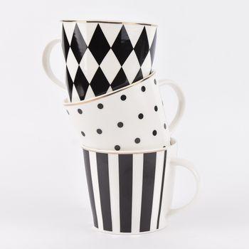 Tasse Kaffeebecher Porzellan weiß schwarz Rand goldfarbig 9x10cm