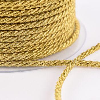 Kordel Zierband goldfarbig dunkel Glitzer Breite: 0,3cm – Bild 2
