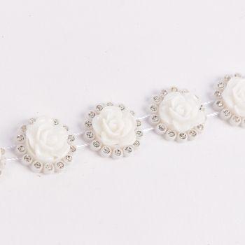 Rosenband mit Strasssteinen weiß silberfarbig Glittzer Breite: 2cm – Bild 2