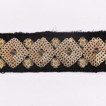 Paillettenband Zierband schwarz goldfarbig Breite: 3cm – Bild 1