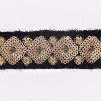 Paillettenband Zierband schwarz goldfarbig Breite: 3cm 001