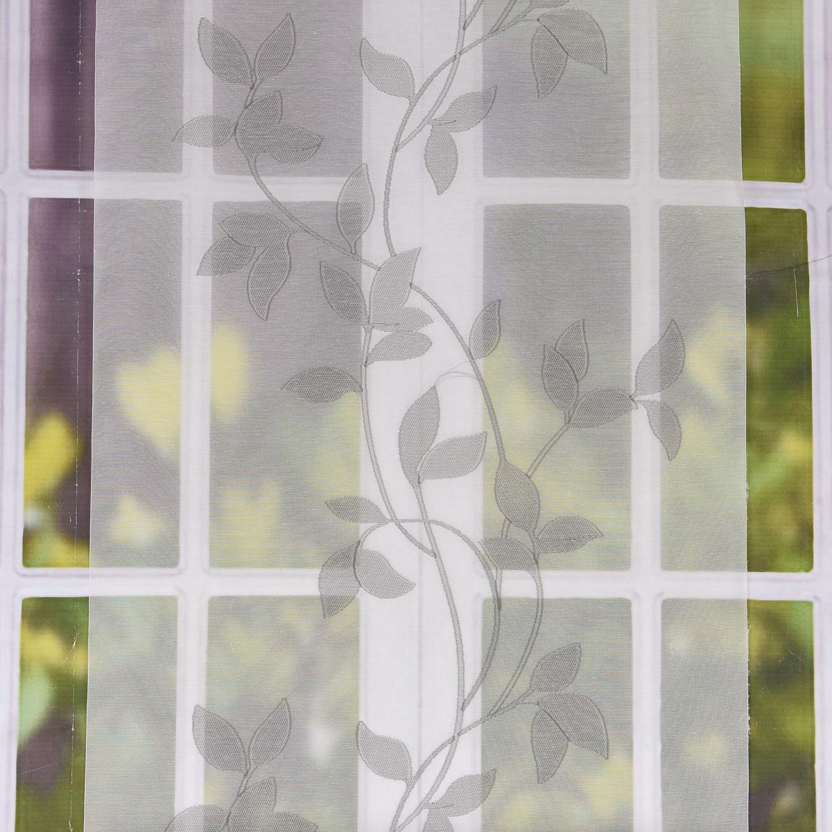 gardine paneele schiebevorhang ecru mit bl tterranken grau 60cm breite alle stoffe stoffe. Black Bedroom Furniture Sets. Home Design Ideas