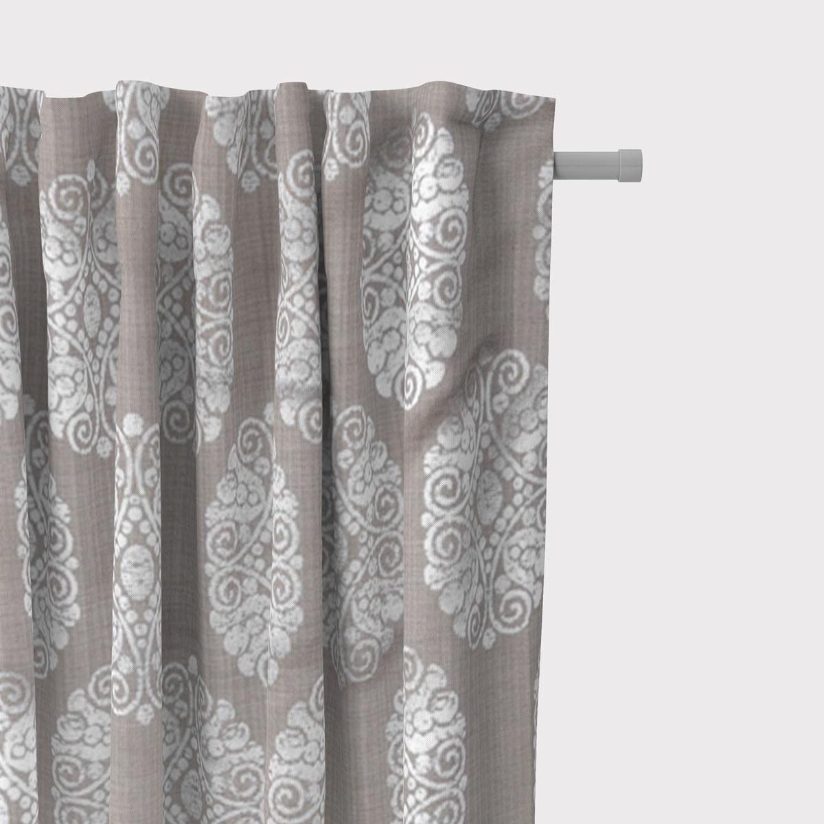 SCHÖNER LEBEN. Vorhang Vorhangschal mit Smok-Schlaufenband Adagio Ornament Metallicprint 245cm oder Wunschlänge