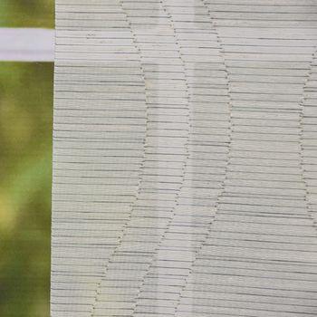 Gardine Paneele Schiebevorhang Flächenvorhang Meterware dünne Querstreifen mit Wellen längs Scherlimuster grau beige 60cm Breite – Bild 2