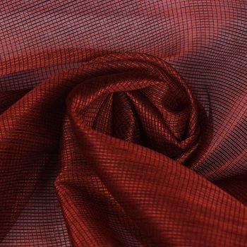 Dekostoff Meterware LIGNEO Stores mit Metalliclook rot schwarz Fadenstruktur längs halbtransparent 3,06m Breite  – Bild 1