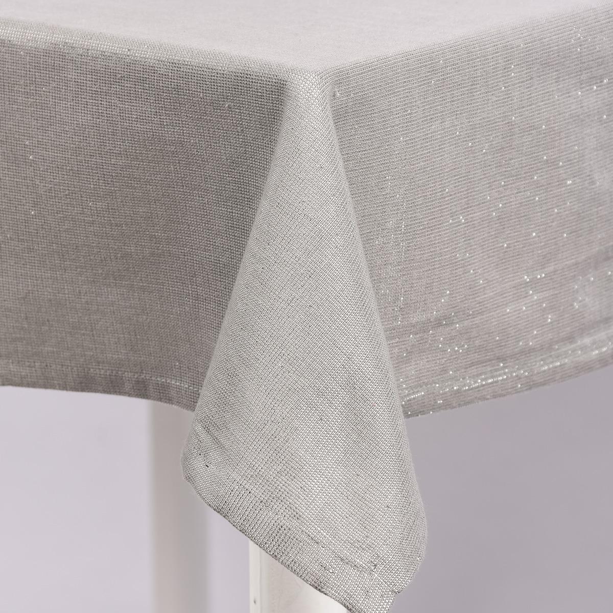 Tischdecke Glamour grau silberfarbig Lurex 150x250cm