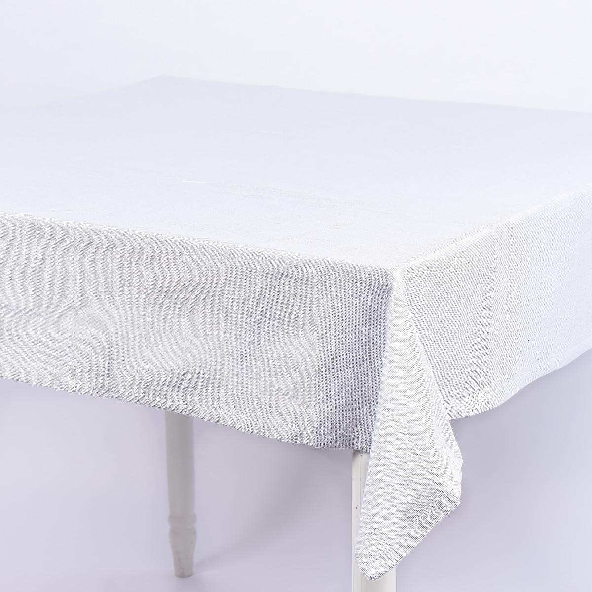 tischdecke glamour wei silberfarbig lurex 150x250cm. Black Bedroom Furniture Sets. Home Design Ideas