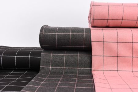 Bekleidungsstoff Karostoff Gitter Vierecke grau rosa 1,45m Breite – Bild 6