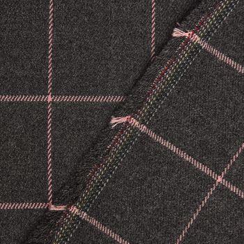 Bekleidungsstoff Karostoff Gitter Vierecke grau rosa 1,45m Breite – Bild 1
